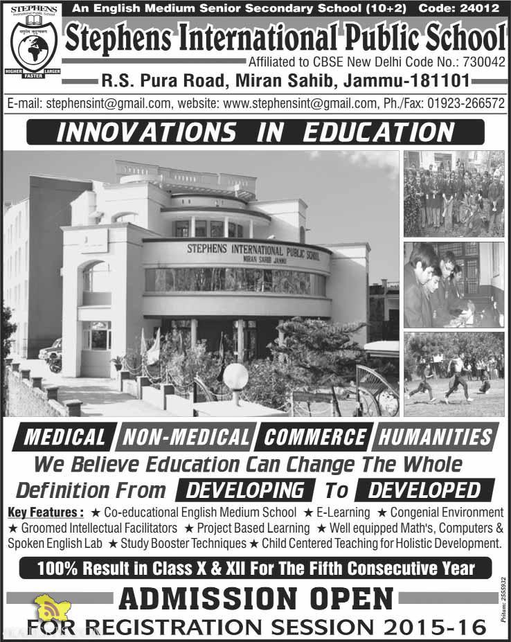 Admission open in Stephens International Public School