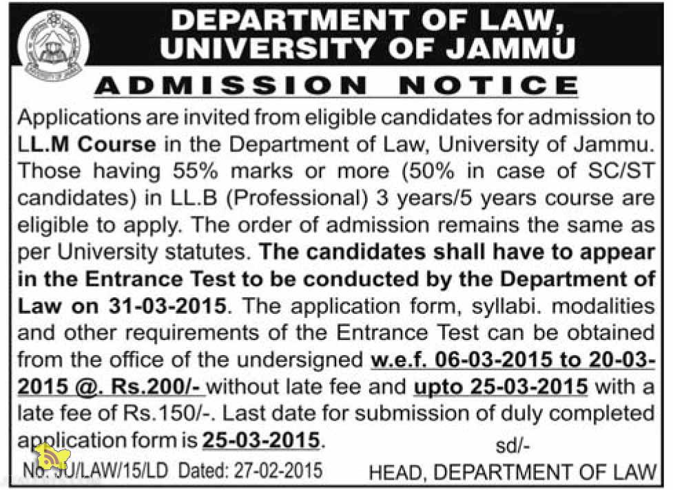 Admission Open in L.L.M Course in the Department of Law, University of Jammu