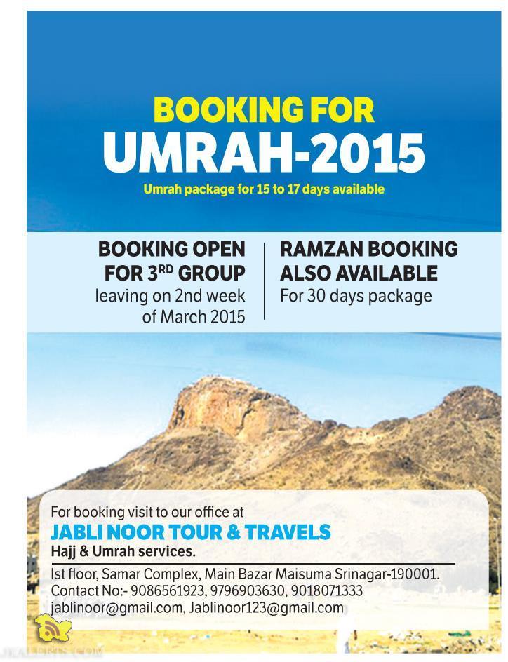 BOOKING FOR UMRAH-2015
