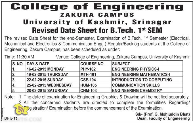Date Sheet for B.Tech. 1st SEM Kashmir University
