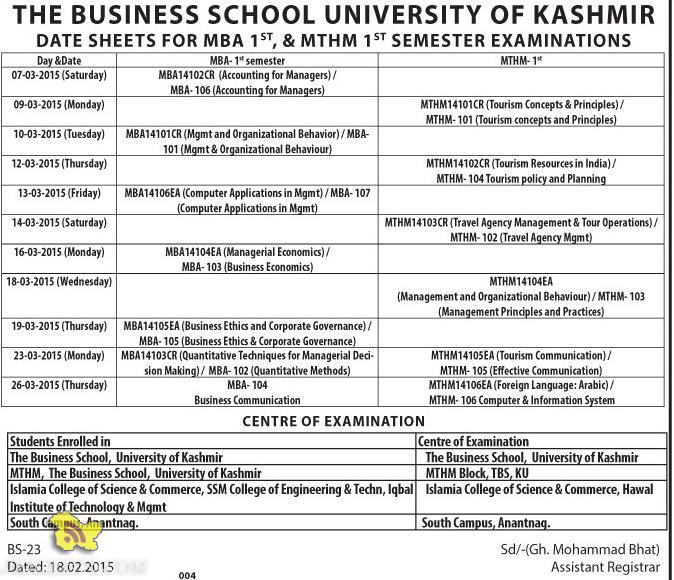 DATE SHEETS FOR MBA, MTHM KASHMIR UNIVERSITY