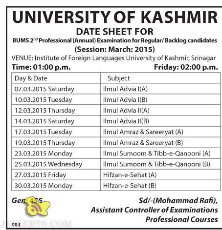 DATE SHEET FOR BUMS 2nd Professional (Annual) Kashmir University
