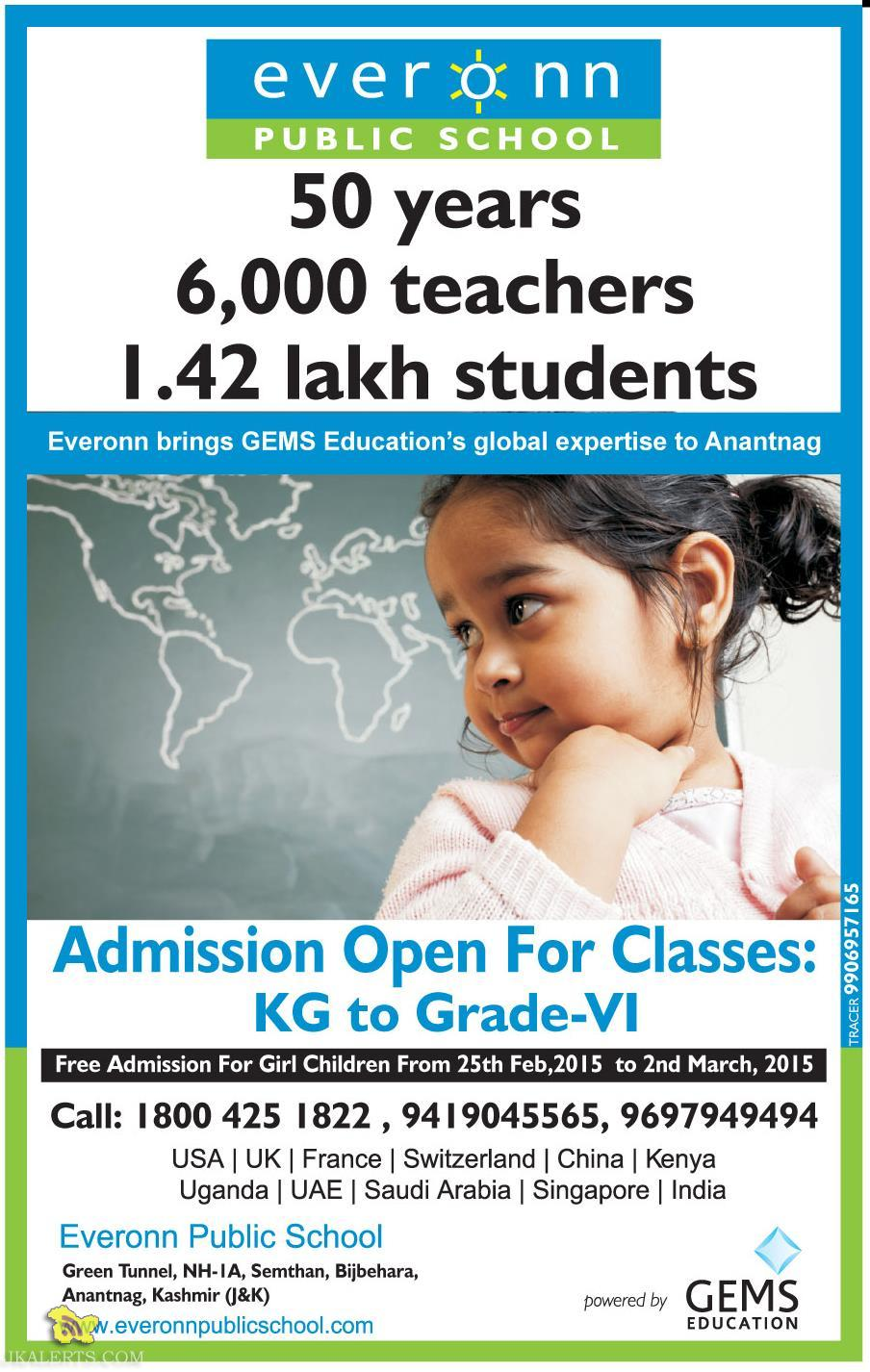 Admission open in EVERONN PUBLIC SCHOOL