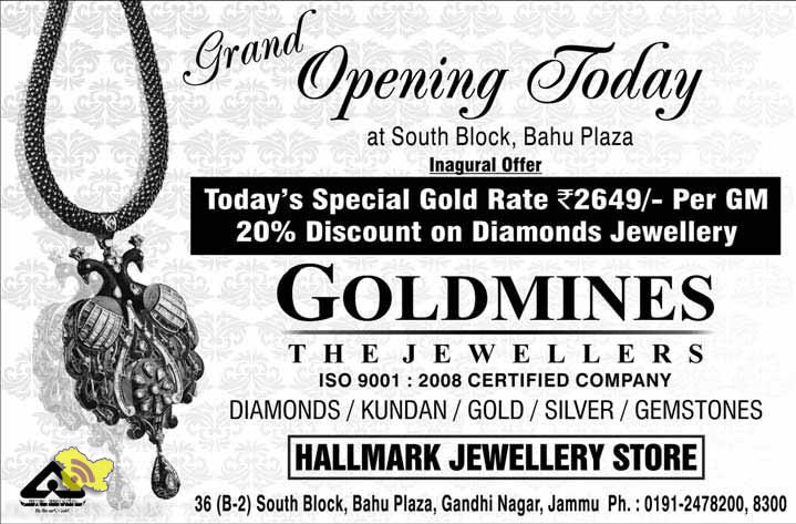 GOLDMINES THE JEWELLERS Inagural Offer on Gold and Diamond Jewellery
