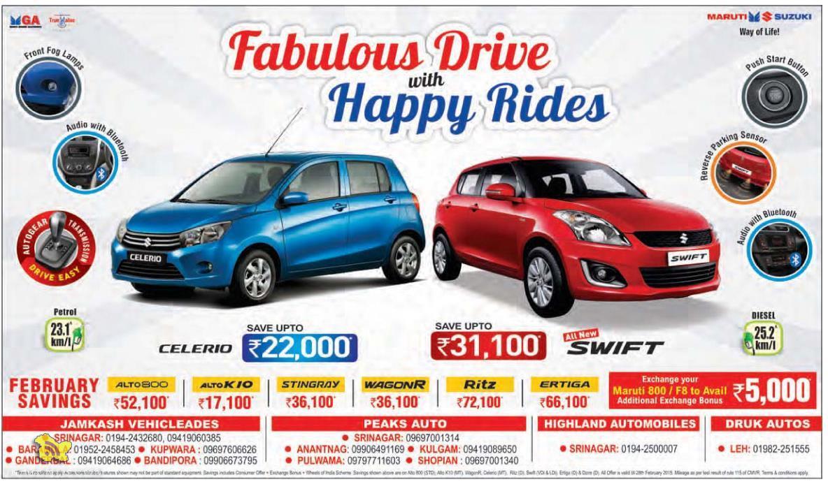 Maruti Suzuki Fabulous Drive with Happy rides Offer