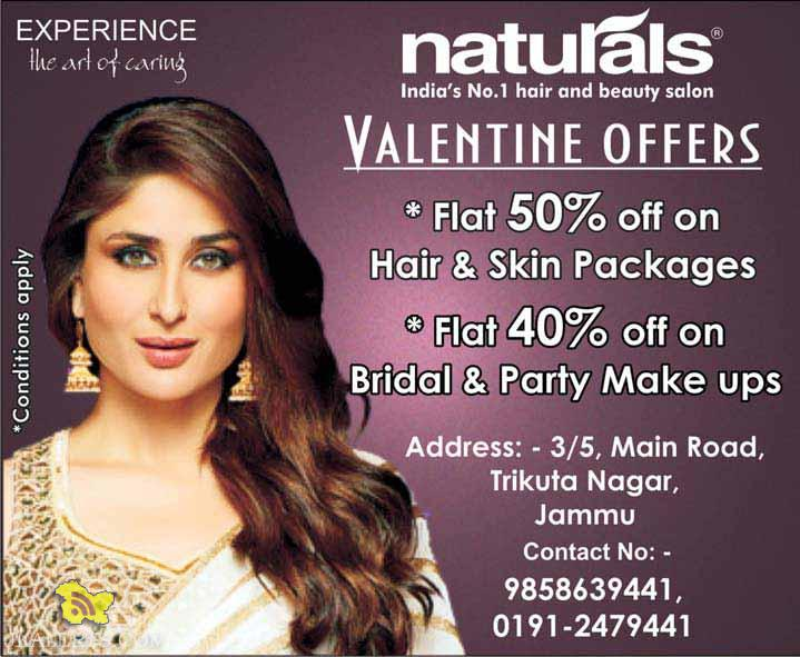 VALENTINE OFFERS in Naturals, Hair and Skin Packages, Bridal & Party Make ups