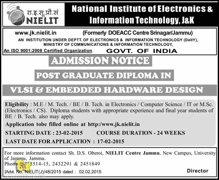 Admission in NIELIT Post Graduate Diploma in VLSI & Embedded Hardware Design