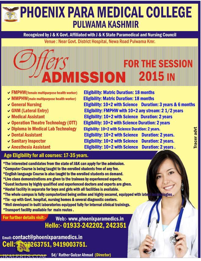 ADMISSION OPEN IN PHOENIX PARA MEDICAL COLLEGE