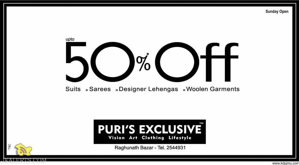 SALE IN PURI'S EXCLUSIVE ON Suits, Sarees , Designer Lehengas, Woolen Garments