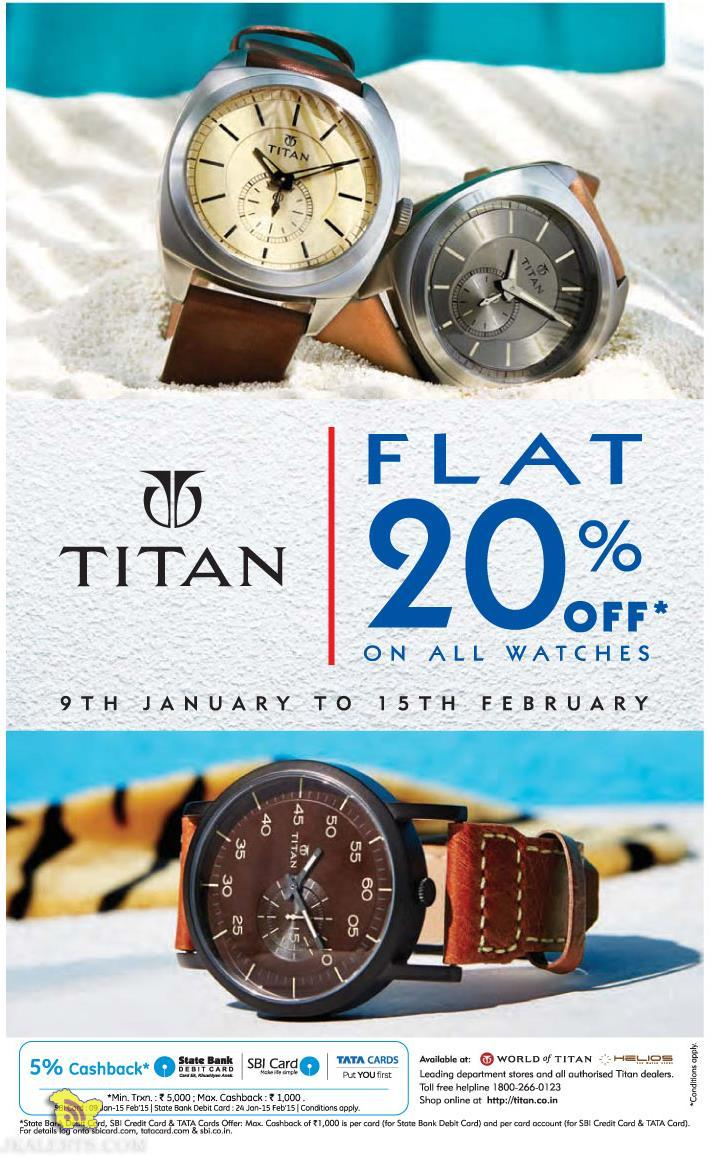 Flat 20% off on all Titan watches