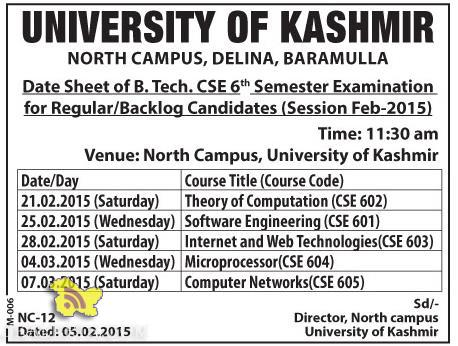 Date Sheet of B.Tech. CSE 6th Semester university of kashmir