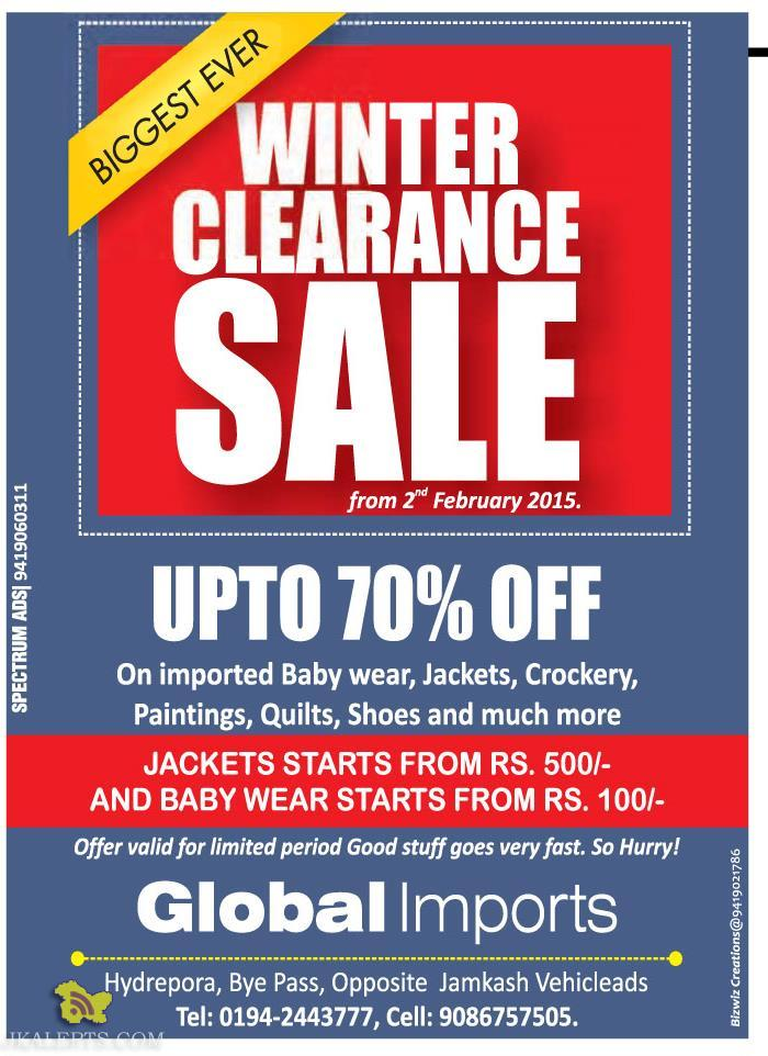 Winter clearance sale Global Imports