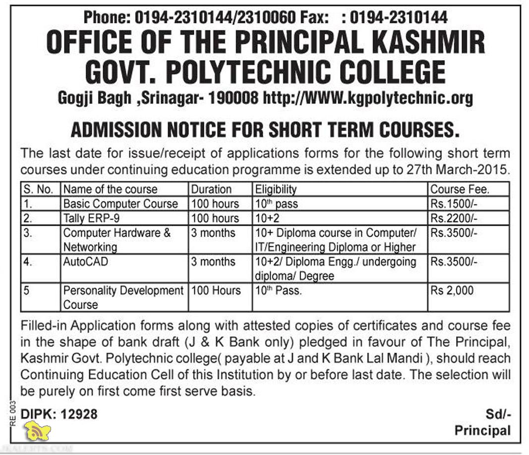 ADMISSION NOTICE FOR SHORT TERM COURSES KASHMIR POLYTECHNIC COLLEGE