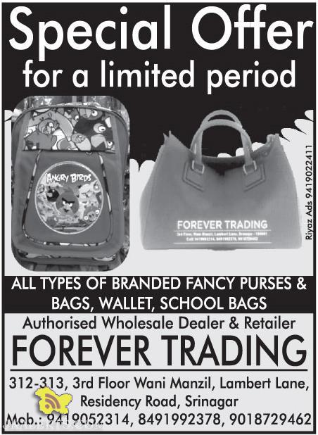 SALE ON BRANDED FANCY PURSES & BAGS, WALLET, SCHOOL BAGS