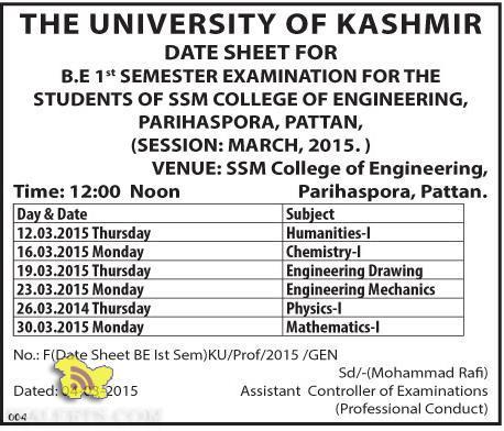 Date sheet B.E 1st Semester
