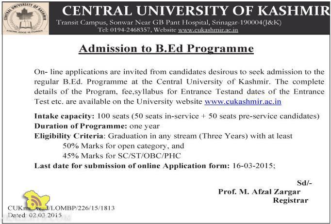Admission to B.Ed Programme Central University of Kashmir