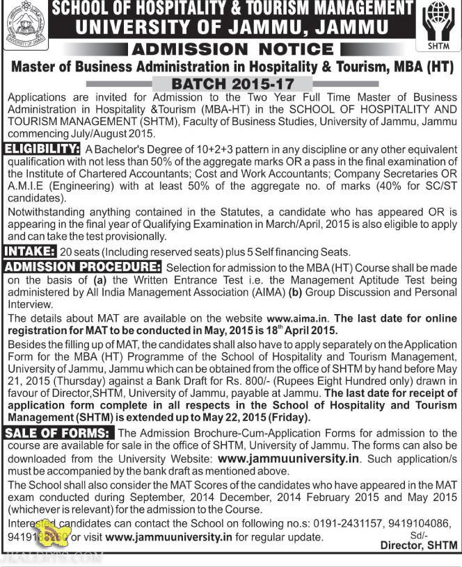 Admission in Master of Business Administration in Hospitality & Tourism, MBA (HT) Jammu university