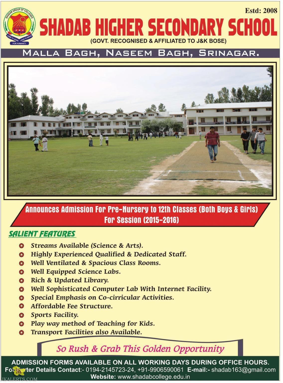 Admission For Pre-Nursery to 12th SHADAB HIGHER SECONDARY SCHOOL