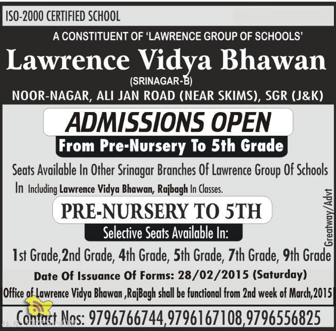 Admission open in Lawrence Vidya Bhawan, Rajbagh