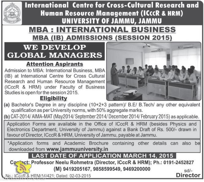 INTERNATIONAL BUSINESS MBA (IB) ADMISSIONS 2015 JAMMU UNIVERSITY