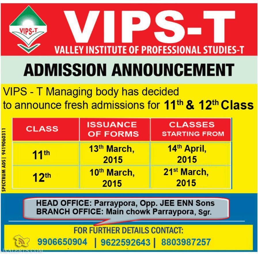 Admission open in VIPS - T
