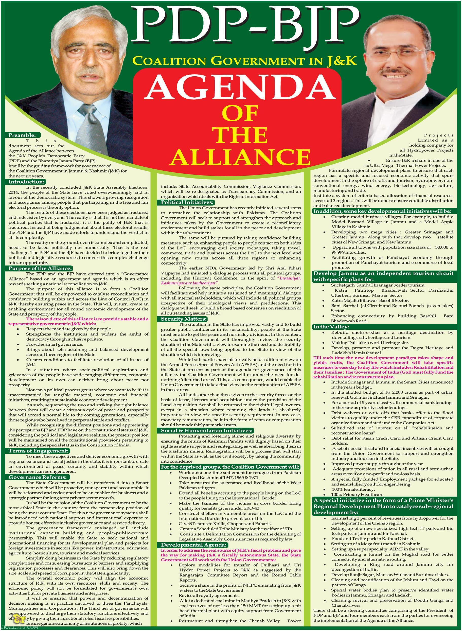 Coalition Government in J&K Agenda of the alliance