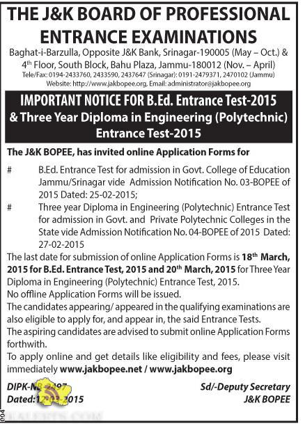 B.Ed. Entrance Test-2015 & Three Year Diploma in Engineering (Polytechnic)