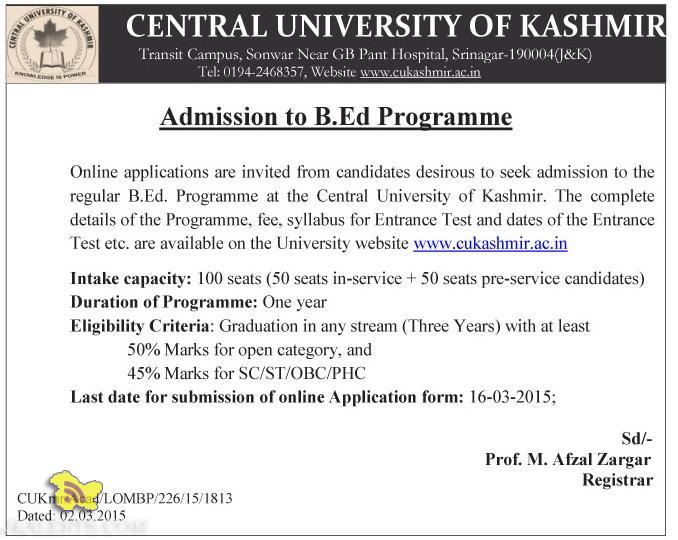 Admission to B.Ed Programme Central University of Kashmir