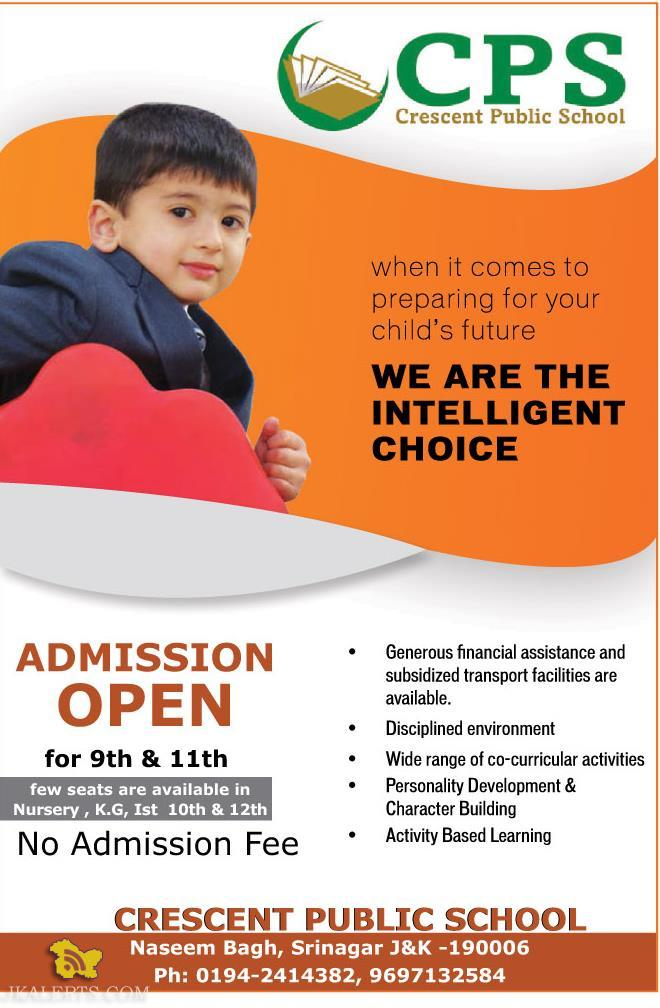 Admission open in CRESCENT PUBLIC SCHOOL Naseem Bagh, Srinagar