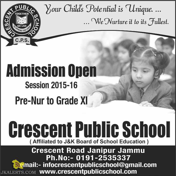 Admission open in Crescent Public School