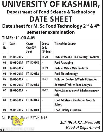 Date sheet for M. Sc Food Technology 2nd & 4th semester examination