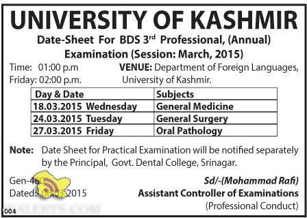 Date-Sheet For BDS 3rd Professional University of kashmir