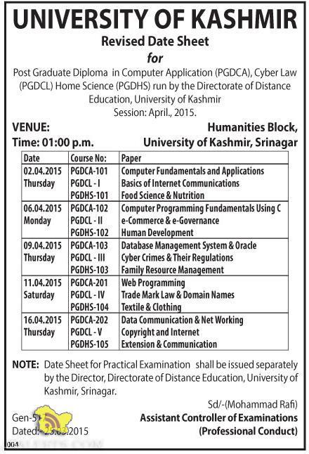 Revised Date Sheet for (PGDCA), (PGDCL), (PGDHS) Kashmir University
