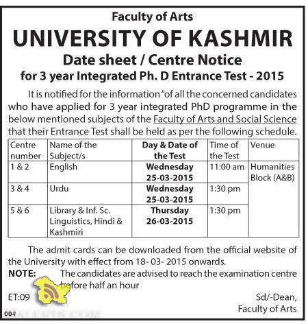 Date sheet / Centre Notice for 3 year Integrated Ph. D Entrance Test - 2015