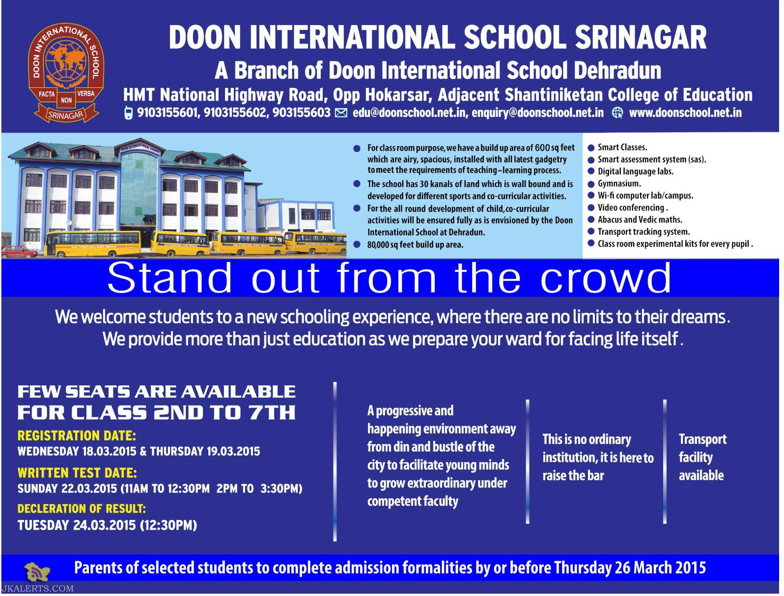 Admission open in Doon international School Srinagar