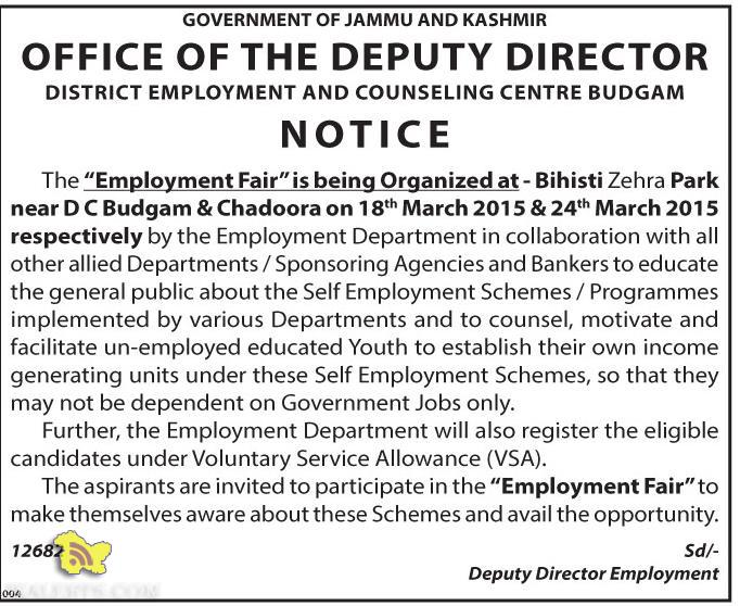 Employment Fair by District Employment and Counselling Centre Budgam