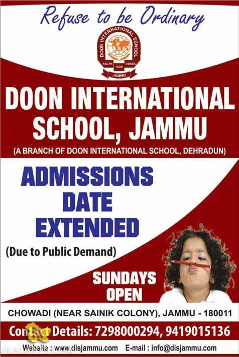 DOON INTERNATIONAL SCHOOL, JAMMU Admissions Dates Extended