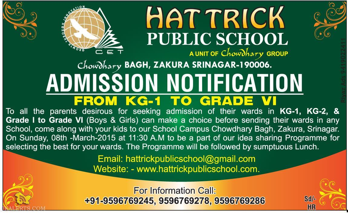 HAT TRICK PUBLIC SCHOOL ADMISSION OPEN FROM KG TO GRADE VI