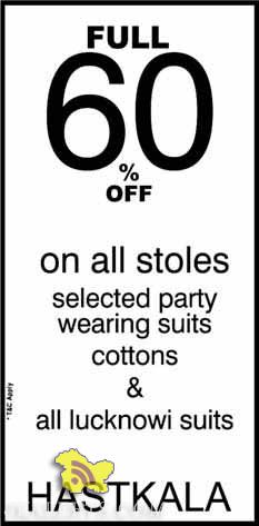 Sale on stoles, party wearing, suits cotton all lucknowi suits in HASTKALA