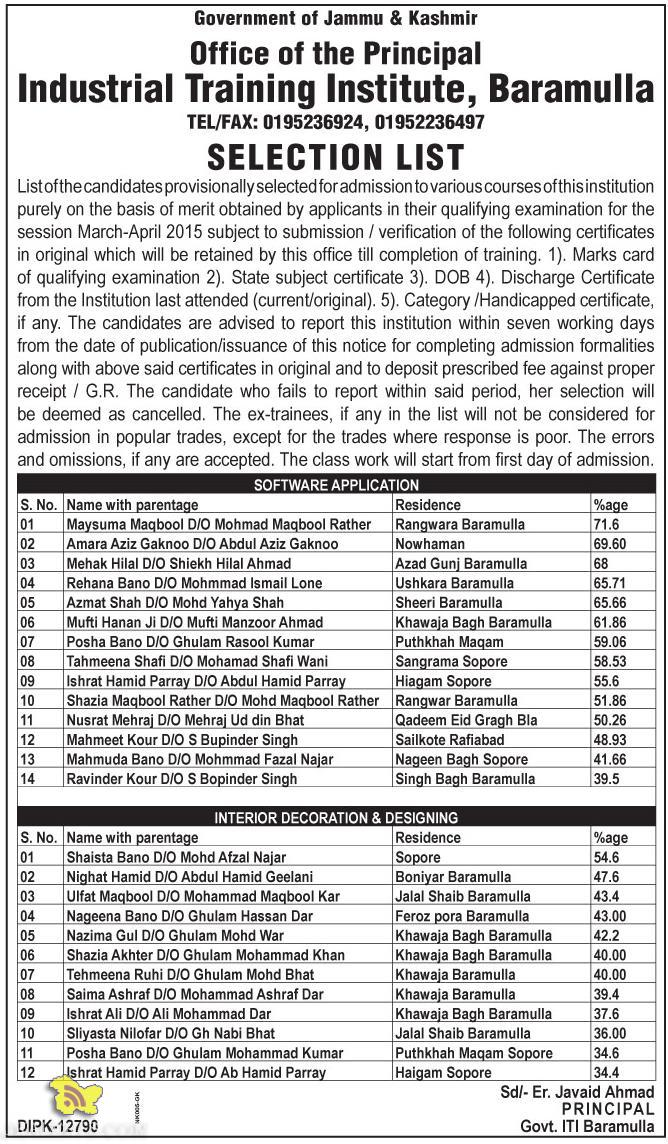 Industrial Training Institute, Baramulla Selection list