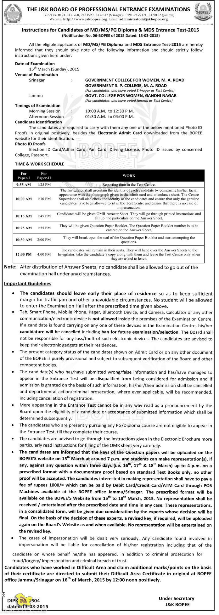 Instructions for Candidates of MD/MS/PG Diploma & MDS Entrance Test-2015