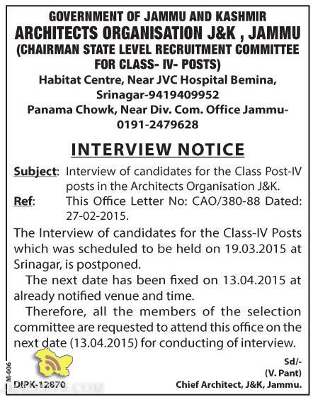 Interview for the Class Post-IV posts in the Architects Organisation J&K