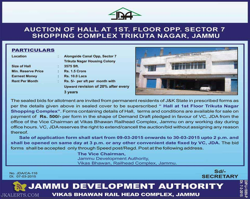 JDA AUCTION OF HALL