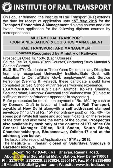 Admission open in Transport Economics & Management diploma course