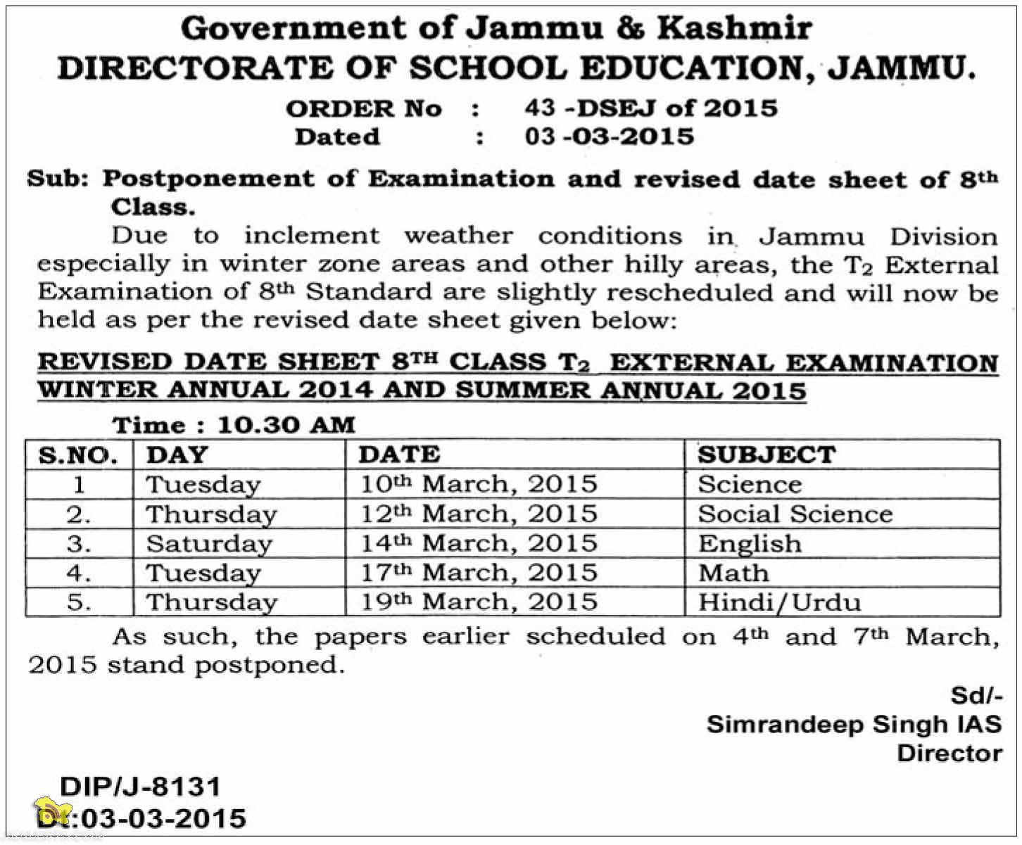 REVISED DATE SHEET 8th CLASS T2 EXTERNAL EXAMINATION WINTER ANNUAL 2014 AND SUMMER ANNUAL 2015