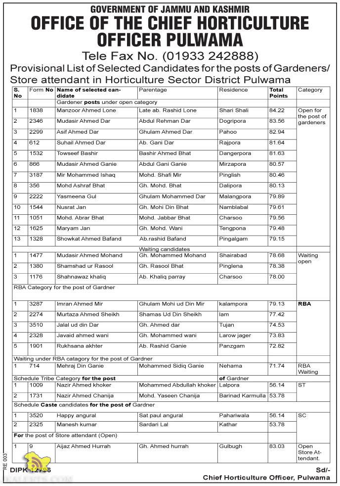 Provisional List of Selected Candidate in Horticulture Sector District Pulwama