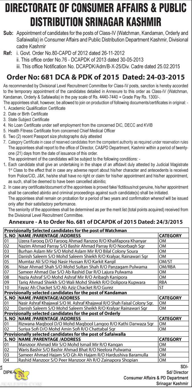 Selection List of Class-IV Consumer Affairs and Public Distribution Department Kashmir