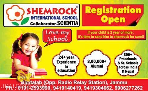 Admission open in SHEMROCK SCHOOL