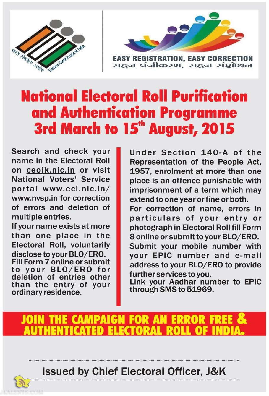National Electoral Roll Purification and Authentication Programme 3rd March to 15th August, 2015