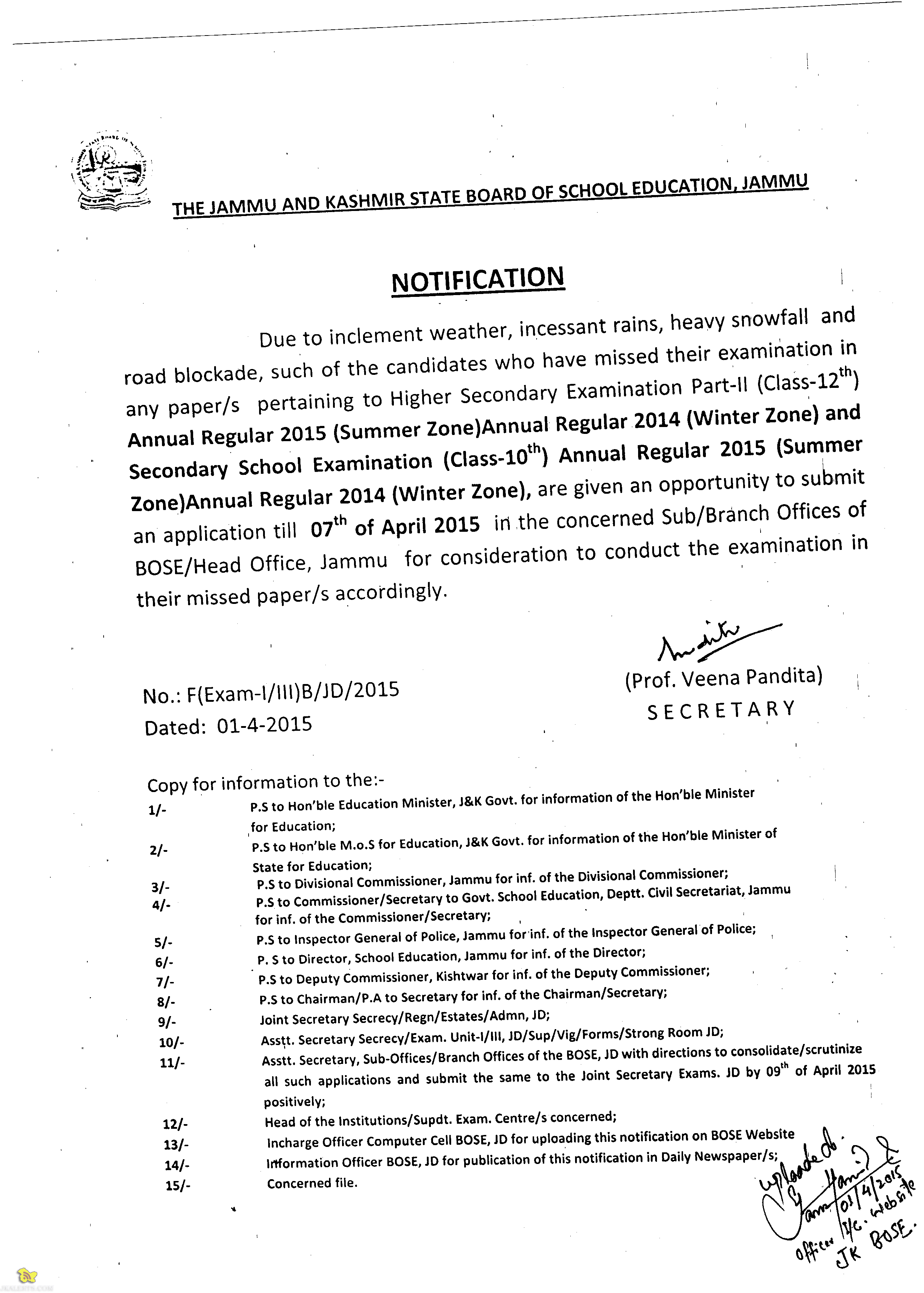 Jkbose Notification Reagards Students Missed their class 10th and 12th exams